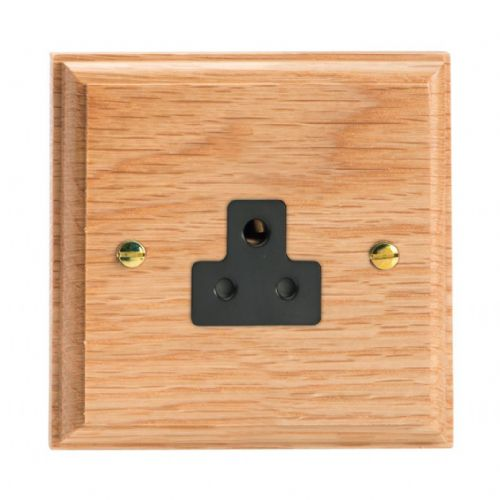 Varilight XKRPOB Kilnwood Oak 1 Gang 2A Round Pin Plug Socket